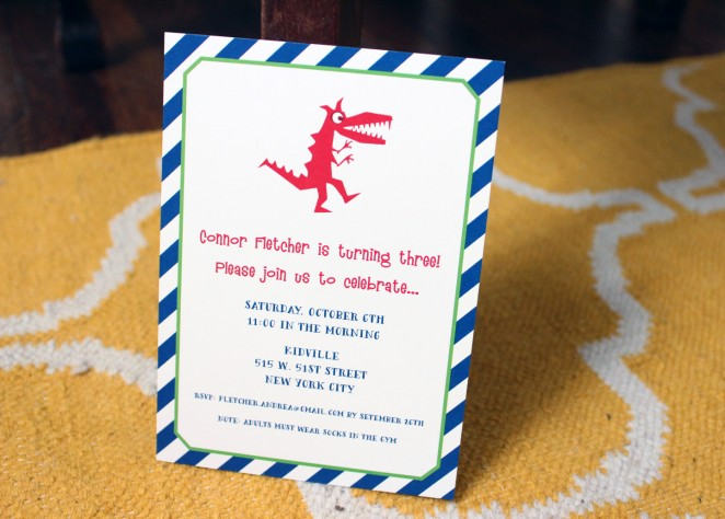 little boy dinosaur party invitation