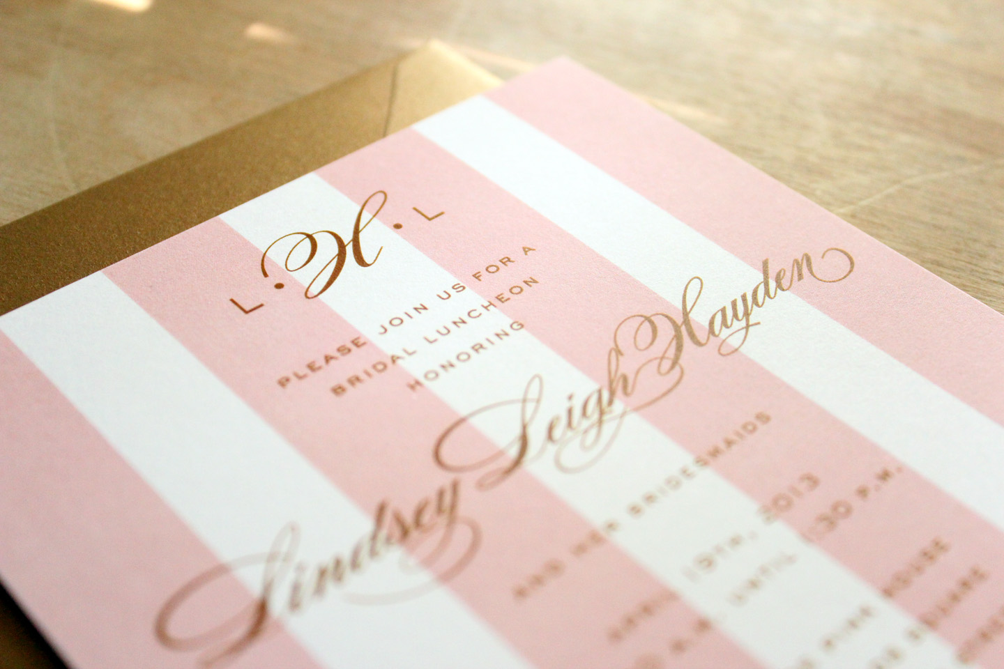 pink and gold bridesmaid luncheon Calliespondence