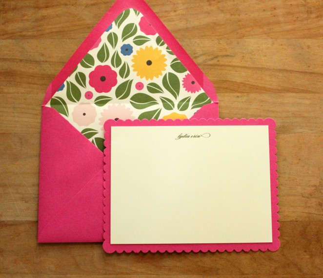 hot pink scalloped notecards