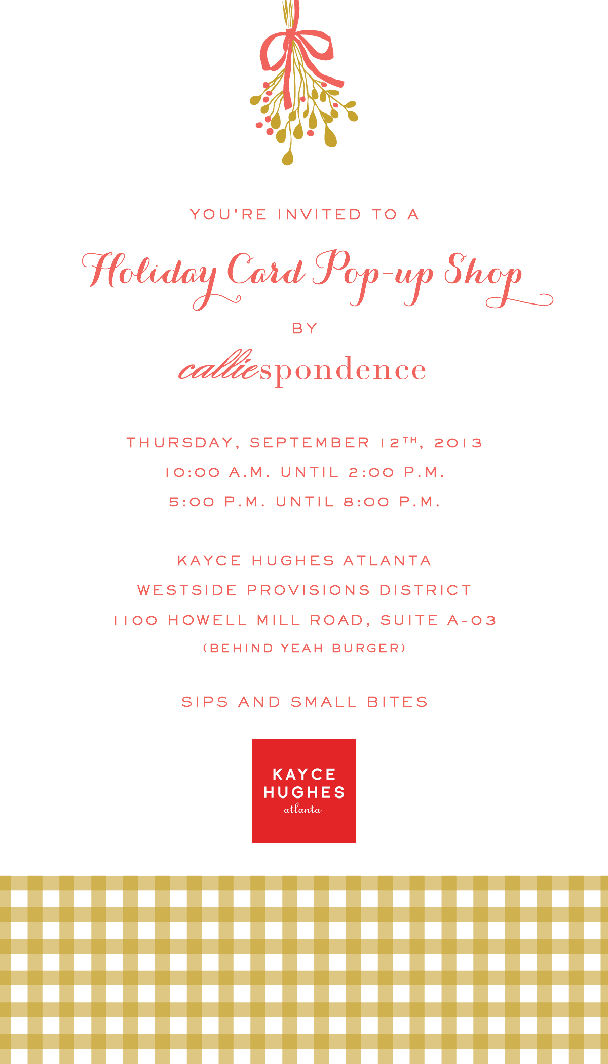 holiday card pop up shop – thursday, september 12th | Calliespondence