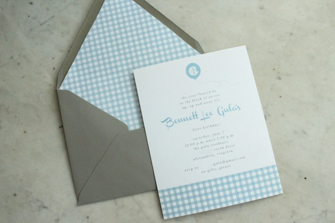 balloon boy gingham invitation