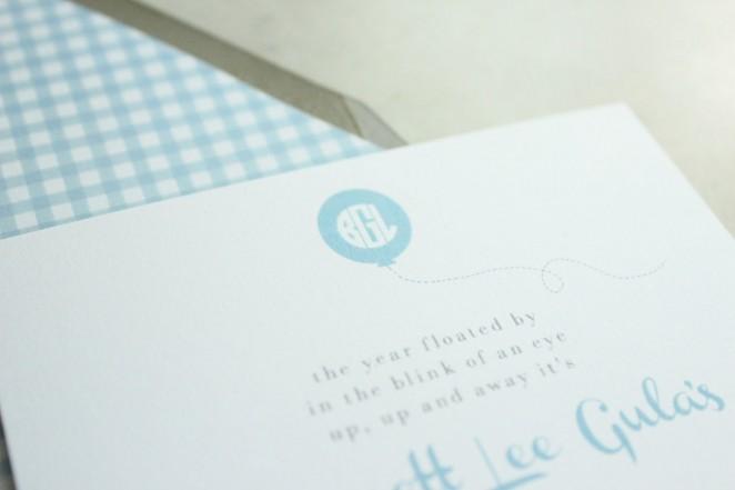 balloon monogram invitation