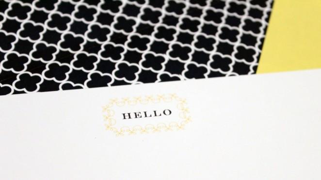item B - HELLO close up