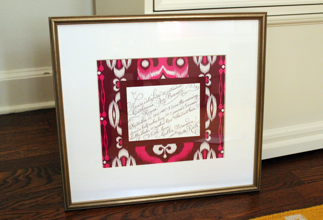 framed birth announcement | Calliespondence