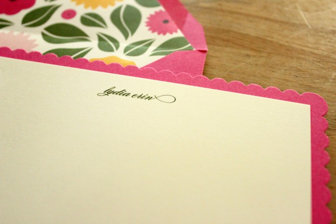 floral scalloped notecards