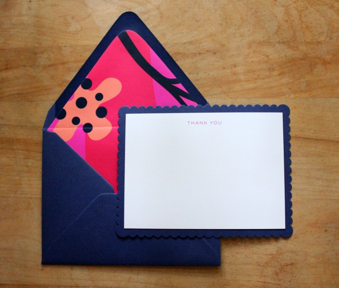 hot pink navy scalloped
