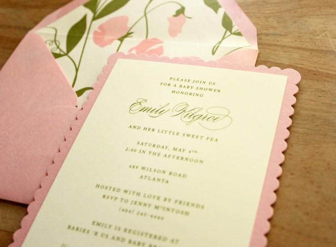 sweet pea scalloped invitation