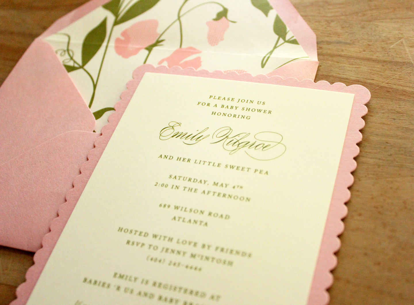 Sweet Pea Scalloped Invitation