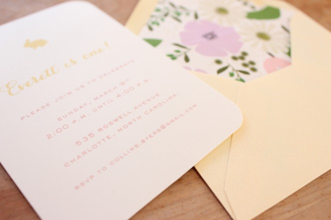 spring first birthday invitation