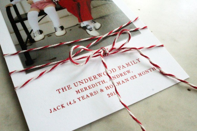 holiday card with twine detail