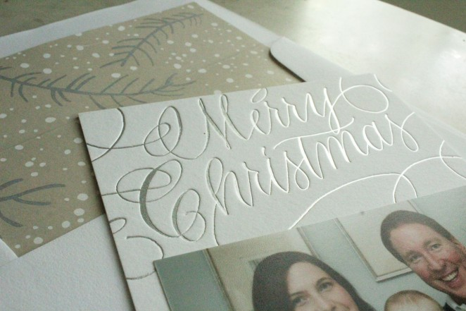 silver foil calligraphy merry christmas